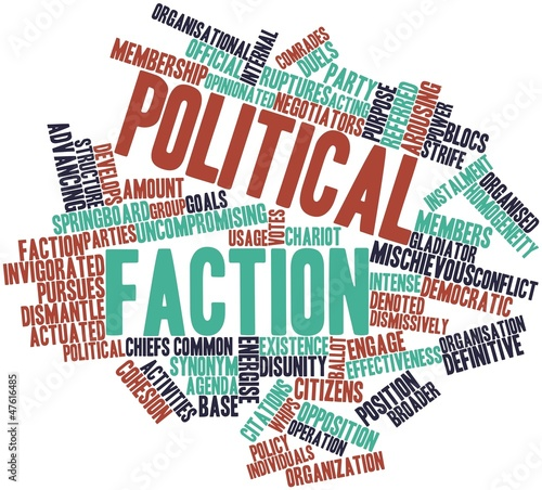 Word cloud for Political faction Tablou Canvas