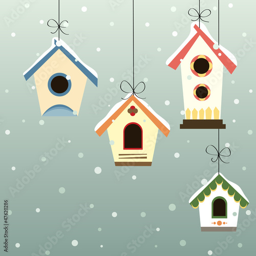 Fotomural Abstract bird house set with winter background