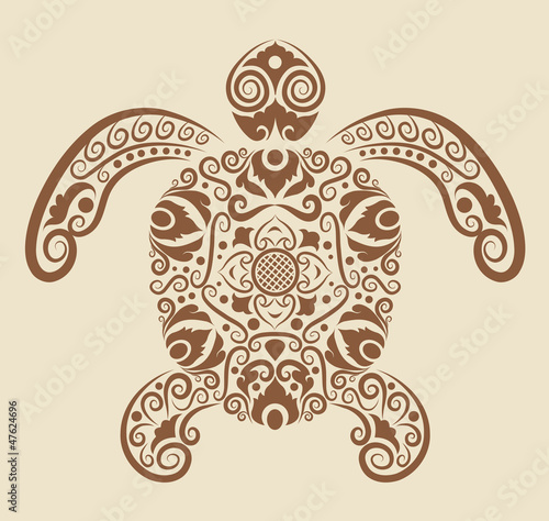 Turtle ornament vector