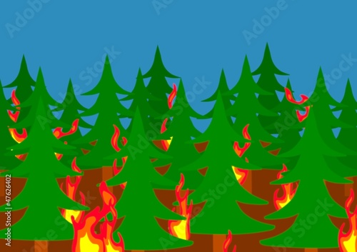 Stickers pour porte Forets enfants Forest fire