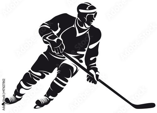 Photo  hockey player, silhouette