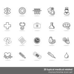 zestaw 20 medycznych ikon zdrowie badania monochrom