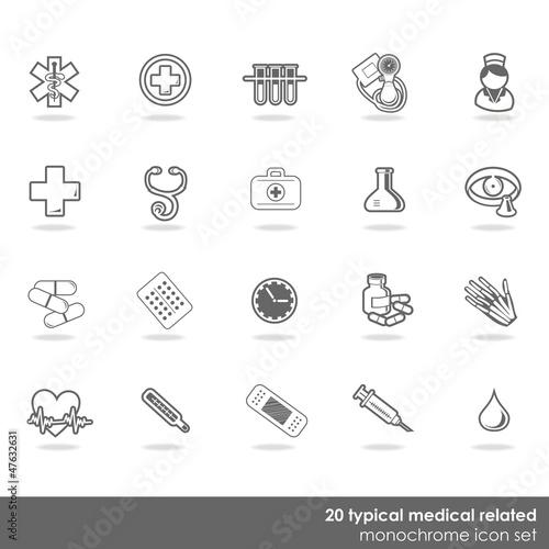 Obraz zestaw 20 medycznych ikon zdrowie badania monochrom - fototapety do salonu