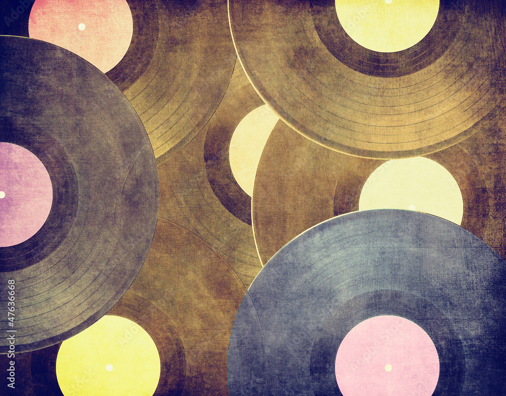 Fototapety, obrazy: Vintage musical background, vinyl records