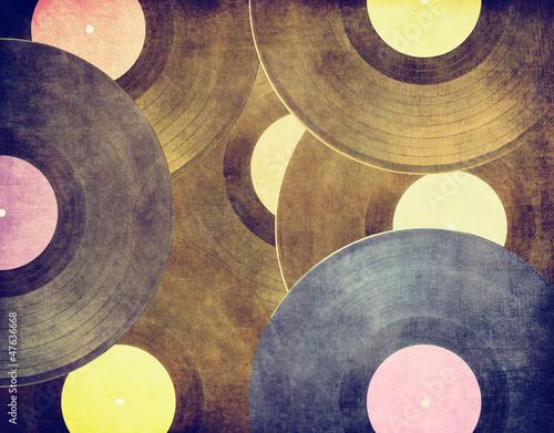 Obraz w ramie Vintage musical background, vinyl records