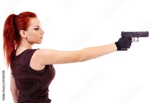 фотография  Military redhead beautiful young lady