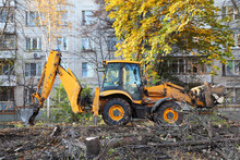 Bulldozer Removes Felled Trees Near Apartment Building