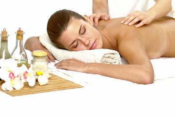 Obraz na płótnie Canvas Relaxed woman at spa salon isolated