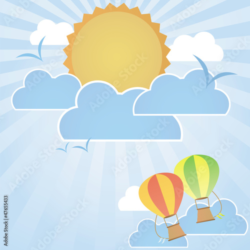 Tuinposter Hemel hot air balloons flying on good weather background : day time