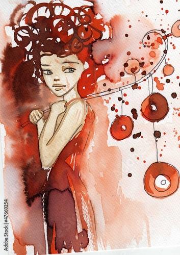 Fototapeta Dziewczyna w czerwieni - ilustracja
