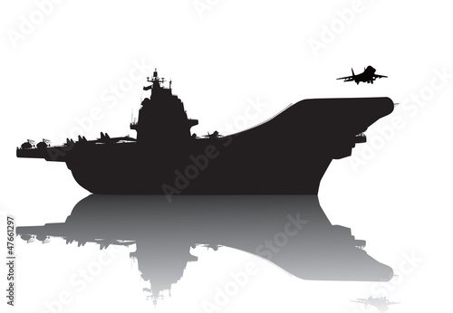 Fotografia, Obraz  Aircraft carrier high-detailed vector silhouette