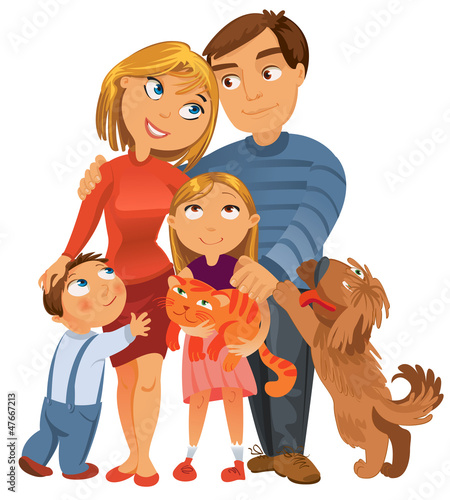 Happy family of four and two pets, posing together, vector