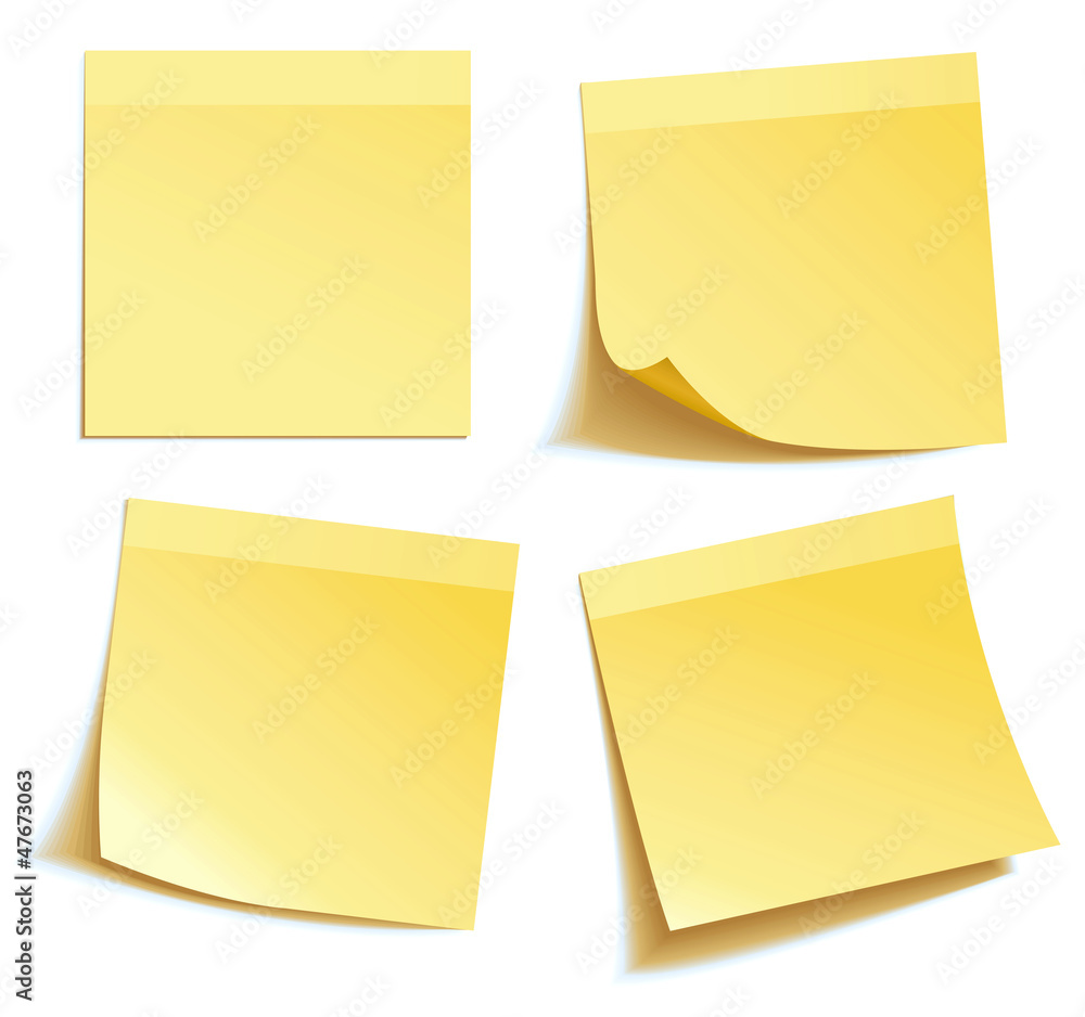 Fototapety, obrazy: Yellow stick note isolated on white background, vector
