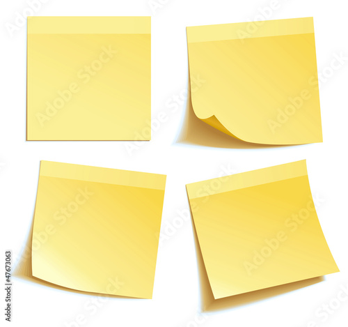 Fotografie, Obraz  Yellow stick note isolated on white background, vector