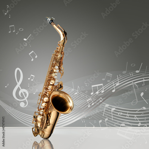 Photo  Saxophone with musical notes