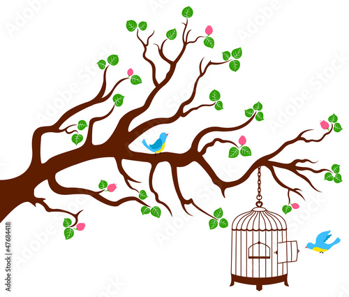 Poster Birds in cages Tree Branch with bird cage and two birds