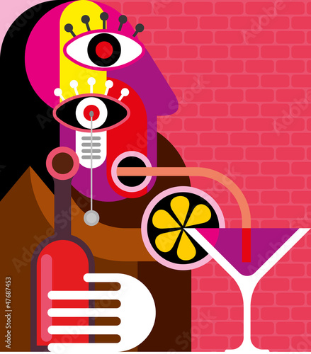 Canvas Prints Abstract Art Woman drinking a cocktail
