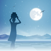 An Indian Girl Carrying Water Jug With Moon And Night Sky