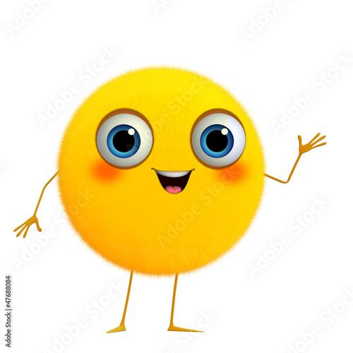 Canvas Prints Sweet Monsters 3d cartoon cute yellow ball
