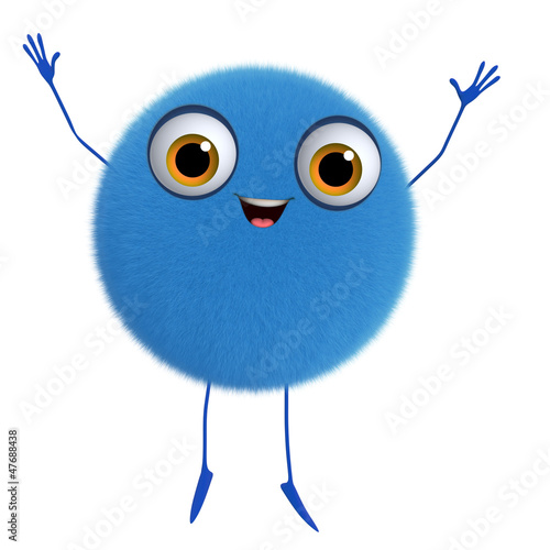Foto op Aluminium Sweet Monsters 3d cartoon cute blue ball