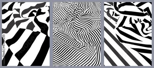 Fotografering  Effet graphique : trois drapés rayés noir et blanc