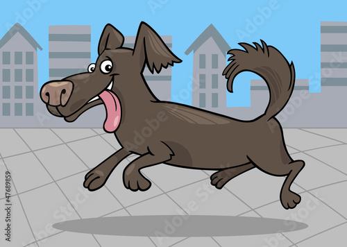 Poster Dogs running little dog cartoon illustration