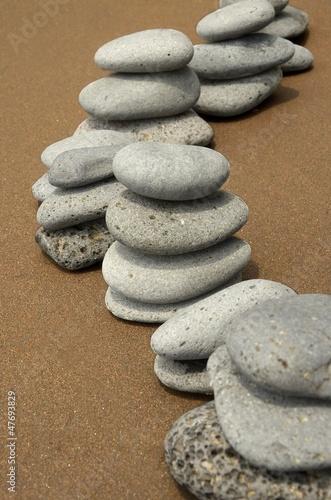 Doppelrollo mit Motiv - Basaltsteine am Strand