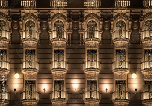 Building facade with shiny decorations #47694844
