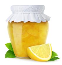 Isolated Fruit Jam. Closed Glass Jar Of Lemon Marmalade And A Piece Of Fresh Fruit Isolated On White Background