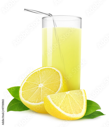 Isolated drink. Glass of lemonade or lemon juice and cut fresh lemons isolated on white background
