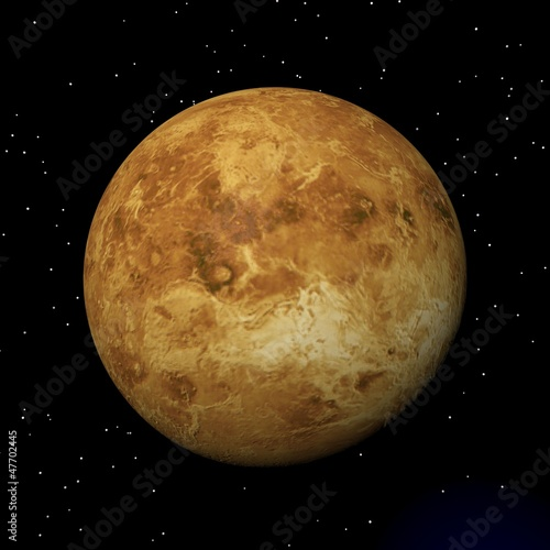Foto  Venus planet at night - 3D render