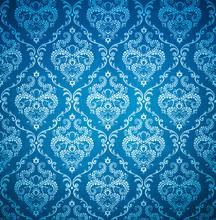 Seamless Damask Blue Wallpaper