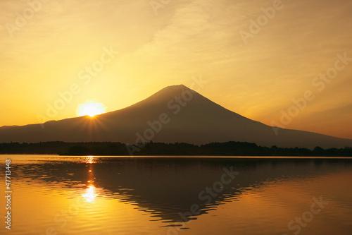 Fotografie, Obraz  朝日と富士山