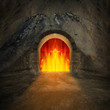 canvas print picture - Road to hell. Religion metaphor.