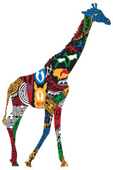 FototapetaGiraffe in the African ethnic patterns
