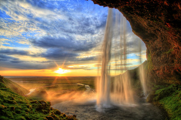FototapetaSeljalandfoss waterfall at sunset in HDR, Iceland