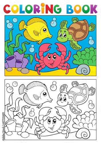 Türaufkleber Zum Malen Coloring book with marine animals 5