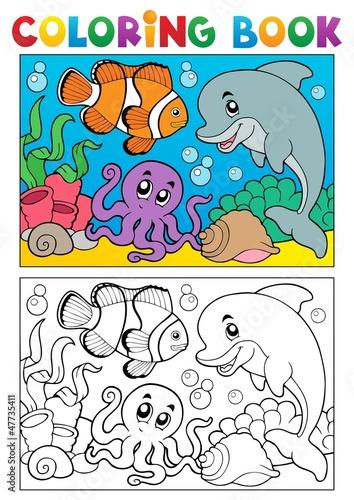Türaufkleber Zum Malen Coloring book with marine animals 6