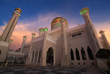 Sunset At Omar Ali Saifuddin Mosque In Bandar Seri Begawan