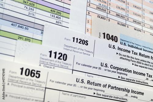 Fototapeta U.S. Income Tax Return forms 1040,1065,1120 obraz