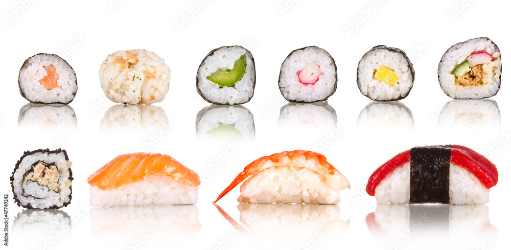 Fototapety, obrazy:  Sushi pieces collection, isolated on white background