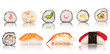 Sushi pieces collection, isolated on white background