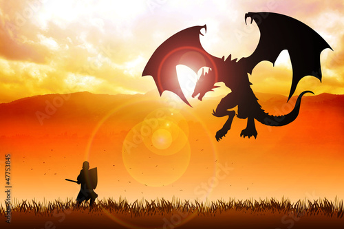 Fotobehang Draken Silhouette illustration of a knight fighting a dragon
