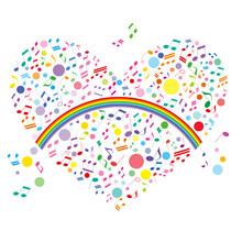 ハート 音符 虹