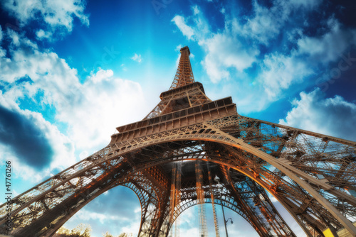 Paris Beautiful view of Eiffel Tower with sky sunset colors