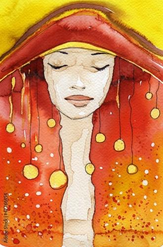 Printed kitchen splashbacks Painterly Inspiration beautiful girl