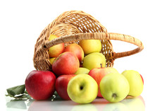 Juicy Apples With Green Leaves...