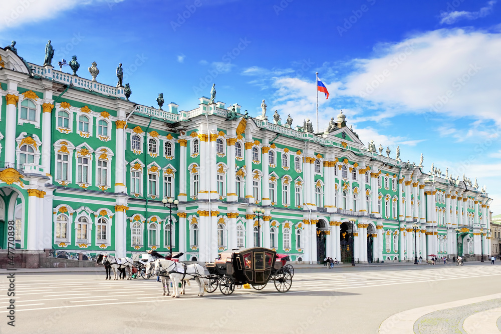 Fototapety, obrazy: View Winter Palace  in  Saint Petersburg from Neva river.