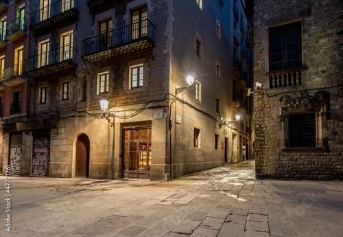 Empty street of Barri Gotic at night, Barcelona #47771261