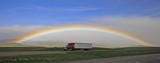 Fototapeta Tęcza - Rainbow over highway with Semi-Truck